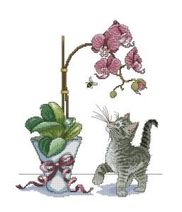 ANICATOR: Gráfico de punto de cruz gratis en pdf con dibujo de gatito