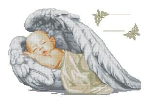 Esquema de punto de cruz para descargar en PDF, imprimir y bordar bebé dormido entre alas de angel