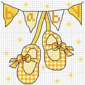 Gráfico de punto de cruz para descargar GRATIS en PDF, imprimir y bordar recuerdo de nacimiento para bebé