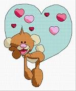 Gráfico de punto de cruz para descargar GRATIS en PDF, imprimir y bordar osito de San Valentín