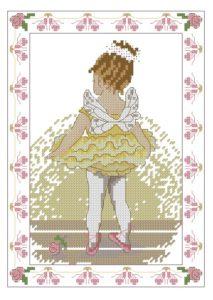 Gráfico de punto de cruz para descargar en PDF, imprimir y bordar niña bailarina