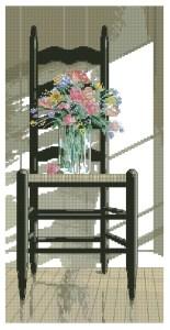 Esquema de punto de cruz para descargar en PDF, imprimir y bordar silla con flores