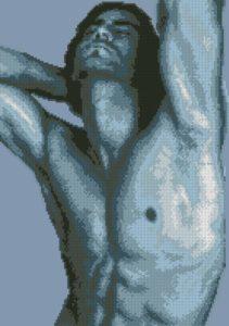 Gráfico de punto de cruz para descargar GRATIS en PDF, imprimir y bordar busto de hombre desnudo