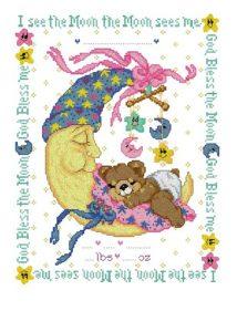 Esquema de punto de cruz para descargar GRATIS en PDF, imprimir y bordar dibujo para bebé con osito durmiendo en la luna