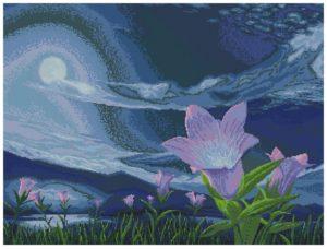 Gráfico de punto de cruz para descargar en PDF, imprimir y bordar paisaje nocturno con luna llena y flores