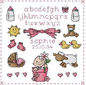 Esquema de punto de cruz para descargar GRATIS en PDF, imprimir y bordar natalicio ó recuerdo de nacimiento para niña