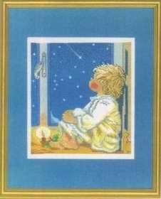 Esquema de punto de cruz para descargar GRATIS en PDF, imprimir y bordar dibujo de niño mirando las estrellas