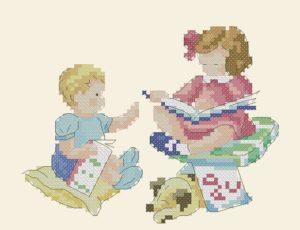 Gráfico de punto de cruz para descargar GRATIS en PDF, imprimir y bordar dibujo infantil de niños leyendo
