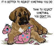 Gráfico de punto de cruz para descargar GRATIS en PDF, imprimir y bordar dibujo infantil de perrito con juguete
