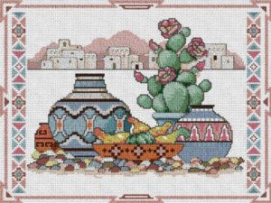 Gráfico de punto de cruz para descargar GRATIS en PDF, imprimir y bordar imagen típica de México, con cactus