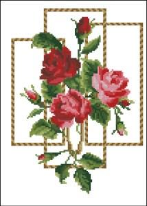 Gráfico de punto de cruz para descargar GRATIS en PDF, imprimir y bordar rosas rojas