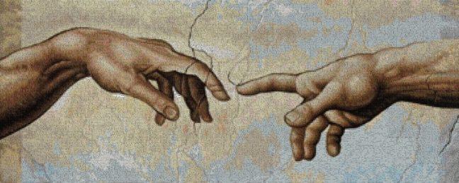 Gráfico de punto de cruz para descargar en PDF, imprimir y bordar detalle de las manos de la Capilla Sixtina de Miguel Angel