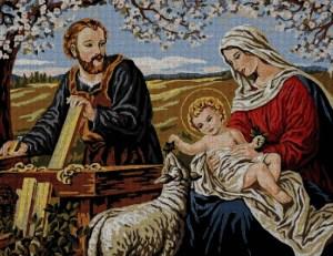 Gráfico de punto de cruz para descargar en PDF, imprimir y bordar imagen de la Sagrada Familia (Virgen María, San José y el Niño Jesús)