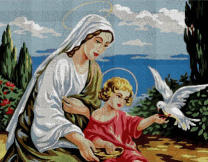 Gráfico de punto de cruz para descargar en PDF, imprimir y bordar imagen de la Virgen María y el Niño Jesús