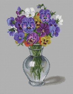 Gráfico de punto de cruz para descargar GRATIS en PDF, imprimir y bordar jarrón con violetas
