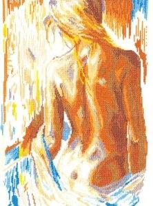 Gráfico de punto de cruz para descargar GRATIS en PDF, imprimir y bordar mujer desnuda de espaldas