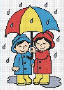 Gráfico de punto de cruz para descargar GRATIS en PDF, imprimir y bordar dibujo infantil de dos niños con paragüas bajo la lluvia