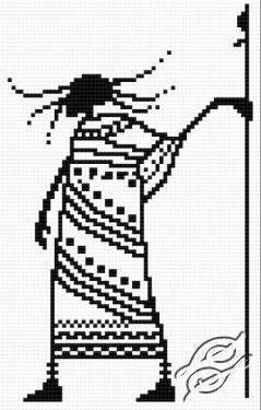 Gráfico de punto de cruz para descargar GRATIS en PDF, imprimir y bordar dibujo de Shaman africano
