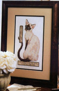 Gráfico de punto de cruz para descargar GRATIS en PDF, imprimir y bordar gato siamés