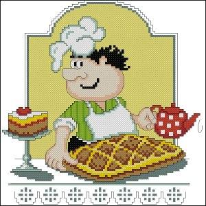 Gráfico de punto de cruz para descargar GRATIS en PDF, imprimir y bordar panadero con pasteles