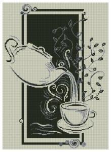 Gráfico de punto de cruz para descargar GRATIS en PDF, imprimir y bordar tetera y taza de té.