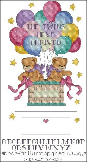 Gráfico de punto de cruz para descargar GRATIS en PDF, imprimir y bordar recuerdo de nacimiento de bebés gemelos o mellizos