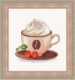 Gráfico de punto de cruz para descargar GRATIS en PDF, imprimir y bordar taza de café con crema de leche