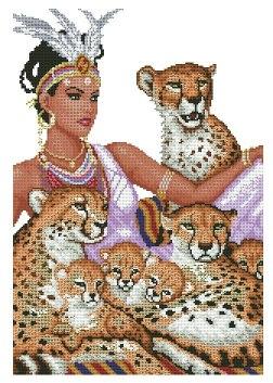 Gráfico de punto de cruz para descargar GRATIS en PDF, imprimir y bordar mujer acompañada de guepardos