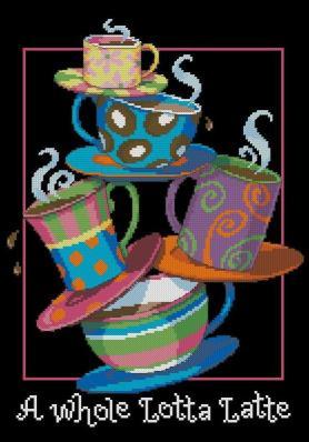 Gráfico de punto de cruz para descargar en PDF, imprimir y bordar dibujo con tazas de café con leche