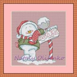 Gráfico de punto de cruz para descargar GRATIS en PDF, imprimir y bordar dibujo navideño con muñeco de nieve