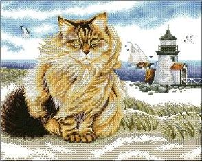 Gráfico de punto de cruz para descargar GRATIS en PDF, imprimir y bordar gato en la playa con faro marino
