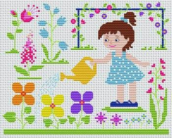 Gráfico de punto de cruz para descargar GRATIS en PDF, imprimir y bordar dibujo infantil con niña regando el jardín