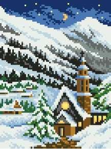 Gráfico de punto de cruz para descargar GRATIS en PDF, imprimir y bordar paisaje nevado con Iglesia