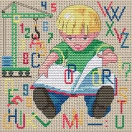 Gráfico de punto de cruz para descargar GRATIS en PDF, imprimir y bordar niño aprendiendo con un libro