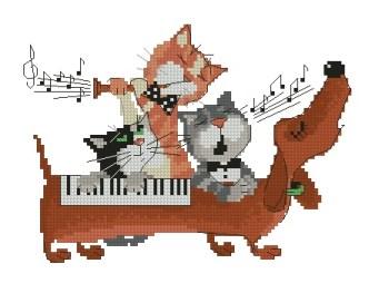 Gráfico de punto de cruz para descargar GRATIS en PDF, imprimir y bordar orquesta de mascotas