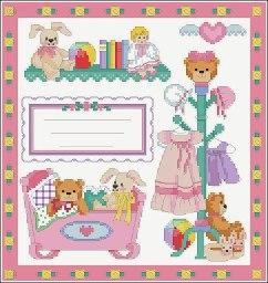 Gráfico de punto de cruz para descargar GRATIS en PDF, imprimir y bordar dibujos para bebés