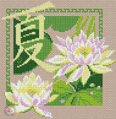 Gráfico de punto de cruz para descargar GRATIS en PDF, imprimir y bordar flores de loto