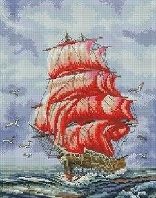 Gráfico de punto de cruz para descargar GRATIS en PDF, imprimir y bordar velero rojo en mar abierto