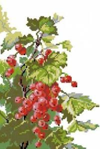 Gráfico de punto de cruz para descargar GRATIS en PDF, imprimir y bordar rama con frutos rojos