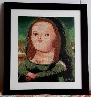 VENTA de cuadro bordado a punto de cruz con la Mona Lisa de Botero