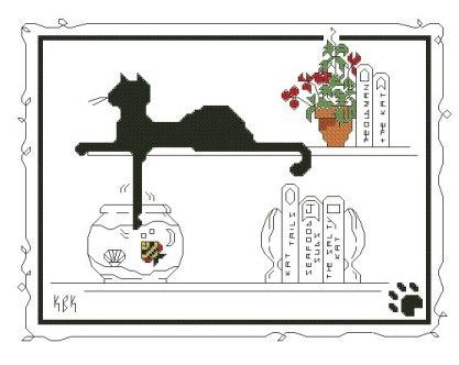 Gráfico de punto de cruz para descargar GRATIS en PDF, imprimir y bordar gato negro y pecera