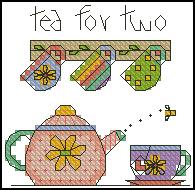 Gráfico de punto de cruz para descargar GRATIS, imprimir y bordar juego de té
