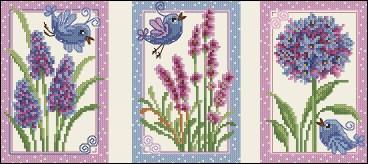 Gráfico de punto de cruz para descargar GRATIS en PDF, imprimir y bordar pajaritos y flores en primavera