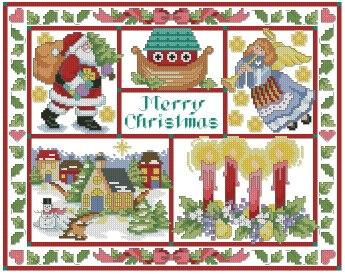 Gráfico de punto de cruz para descargar GRATIS en PDF, imprimir y bordar dibujo navideño con Papá Noel