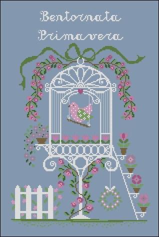 Gráfico de punto de cruz para descargar GRATIS en PDF, imprimir y bordar dibujo floral de primavera