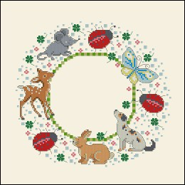Gráfico de punto de cruz para descargar GRATIS en PDF, imprimir y bordar marco infantil con animalitos