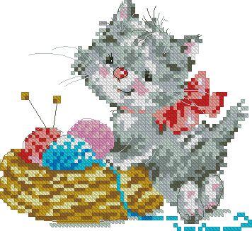 Gráfico de punto de cruz para descargar GRATIS en PDF, imprimir y bordar gatito con ovillos de lana