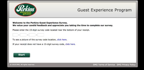 Homepage of Perkins experience survey