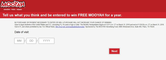 homepage of mooyah.com/survey