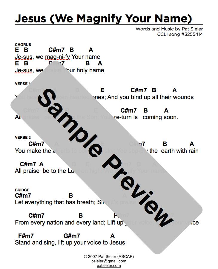 Chord Charts Lyric Sheets Combo Pack Calvarytalk The Bible